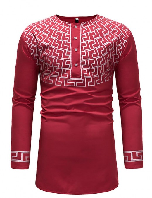 National Style Red African Crew Neck Button Men T-Shirt Big Size
