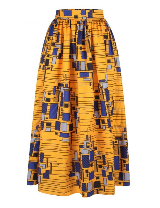 Sophisticated Slim Waist African Pleated Skirt Elastic Fashion