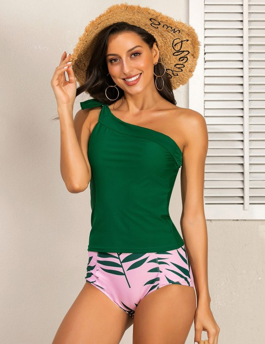 Awesome Green Floral Print Single Shoulder Tankini Tie For Woman