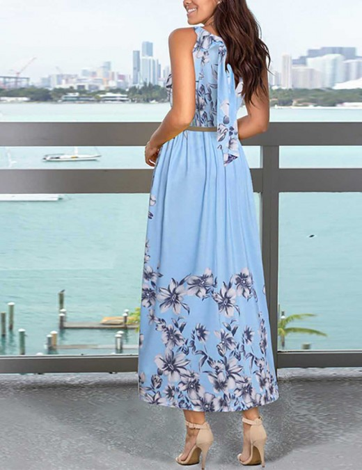 Blue Sleeveless Print Crew Neck Maxi Dress Knot Tailored Quality