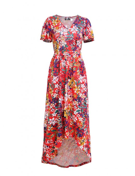 Sheer V Neck Red Elastic Floral Print Maxi Dress Adult