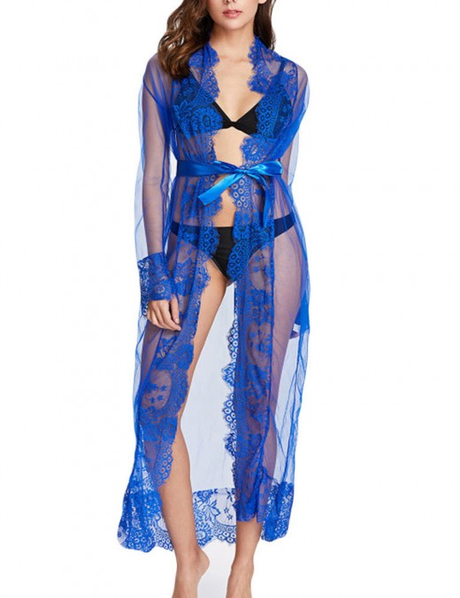 Pure Blue Perspective Lace Patchwork Maxi Bedgown Mature Female Fashion