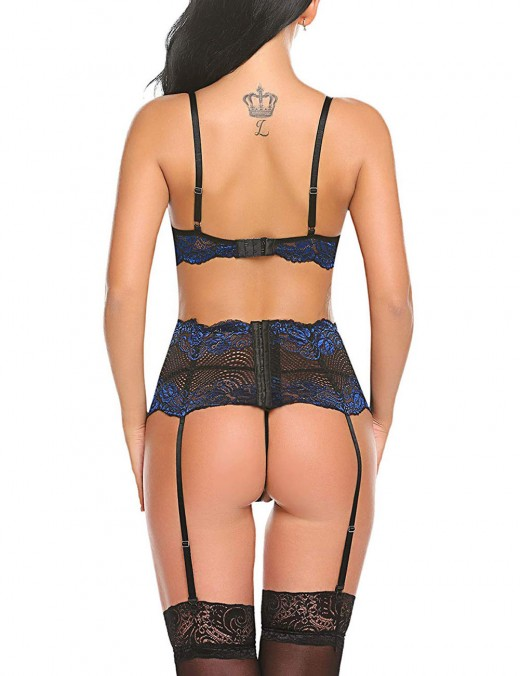 Garnet Blue Lace Stitch Scallop Garter Belt Bralette Set For Summer