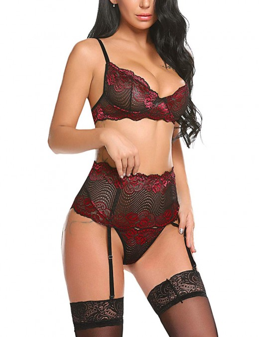 Royal Wine Red Slender Straps Garter Belt Bralette Set Lace Hot Trendy