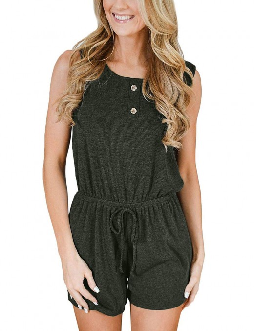 Eye-Catching Hollow Back Army Green Drawstring Pocket Jumpsuit Elastic