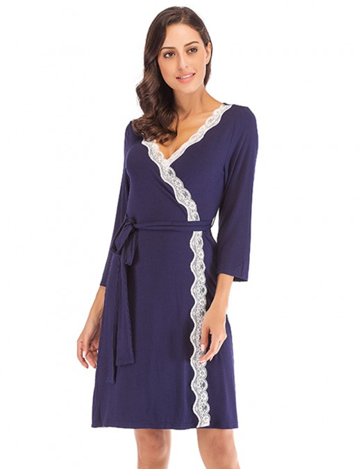 Royal Navy Blue Cardigan Modal Waist Knot Bathrobe Fashion Nightwear