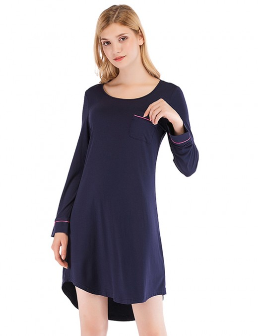 Adorable Navy Blue Modal High-Low Hem Sleep Dress Pocket Fashion Design
