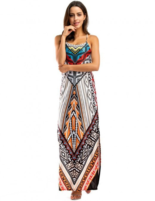 Figure-Hugging Tribal Pattern Red Sling Backless Maxi Dress Wholesale