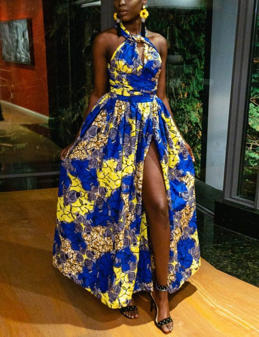 Contouring African Print Hem Maxi Dress Front Slit Dress Women