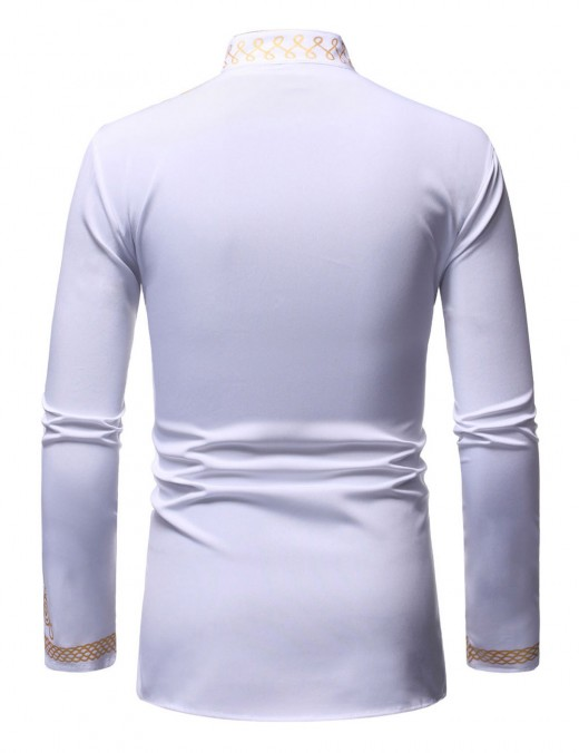 Zealous Men Stand Neck White Long Sleeve Hot Stamping Shirt Supper Fashion