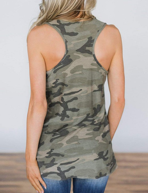 Special Army Green Sleeveless Flag Print Tank Top U Neck Workout
