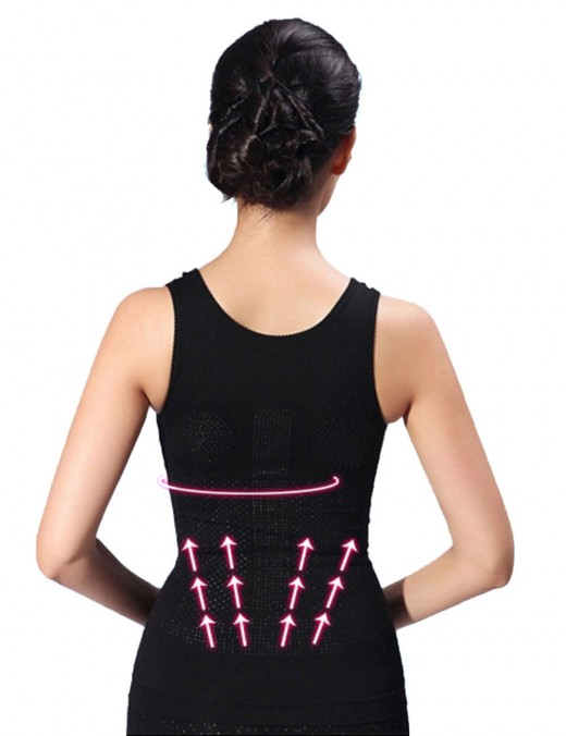 Bodycon Black Tourmaline Seamless Vest Shaper Sleeveless Fat Burner