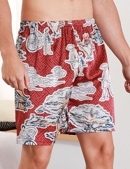 Exotic Wine Red Wide Print Contrast Color Short Pants Male Nightwear