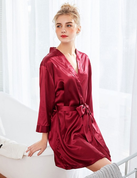 Wedding Night Wine Red 3/4 Sleeve Waist Belt Mini Bedgown Stitchwork Slim Fitting