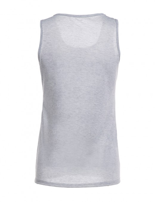 Striking Grey Big Size Sleeveless Letter Print Tank Top Chic Fashion