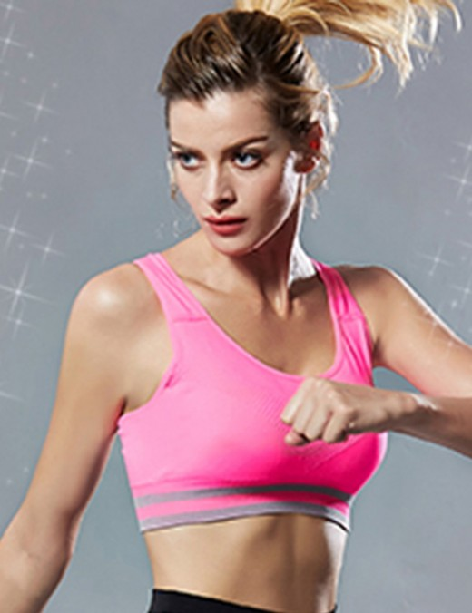 Attactive Rose Red Hollow Padded Stripe Open Back Fitness Bra Fashion