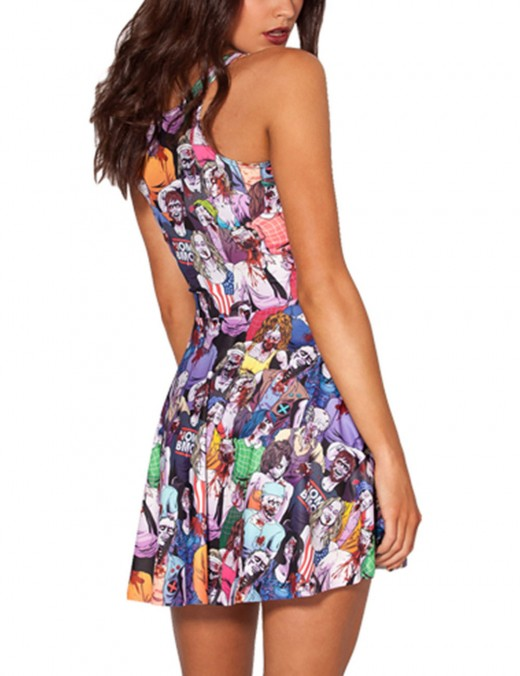 Ravishing Digital Print Slim Waist Mini Dress For Stunner