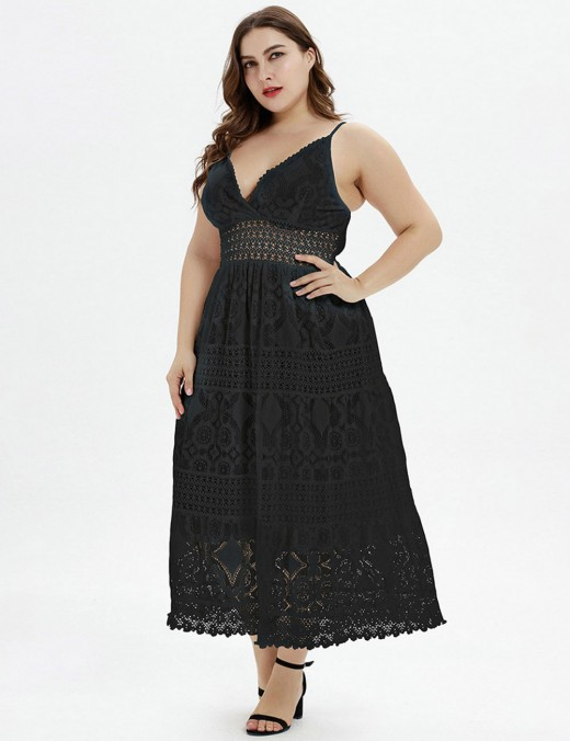 Vibrant V Collar Black Waist Slim Plus Size Midi Dress Lace Simplicity
