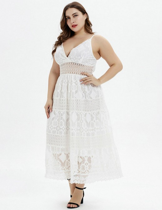 Unique Sling Lace White Hollow Out Big Size Midi Dress For Every Occasion