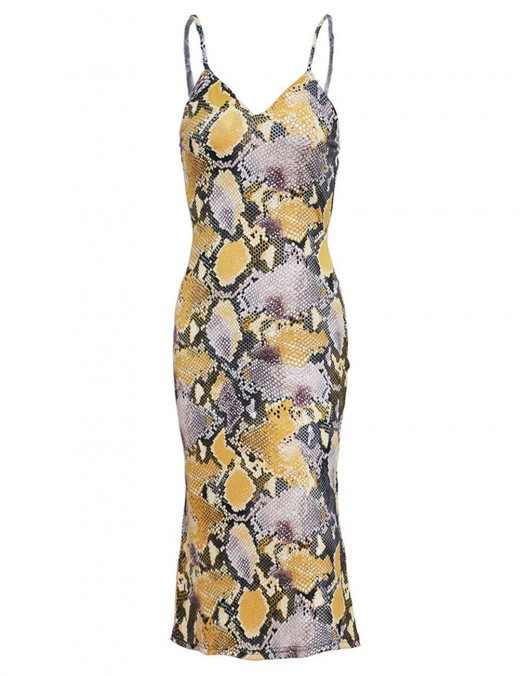 Refined Snake Plunge Collar Yellow Backless Bodycon Dress Comfort