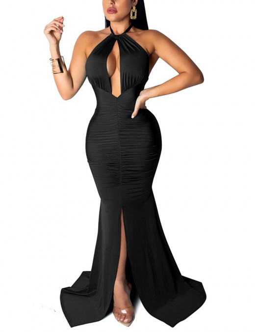 Eye Catcher Black Open Back Cut Out Slit Front Evening Dress