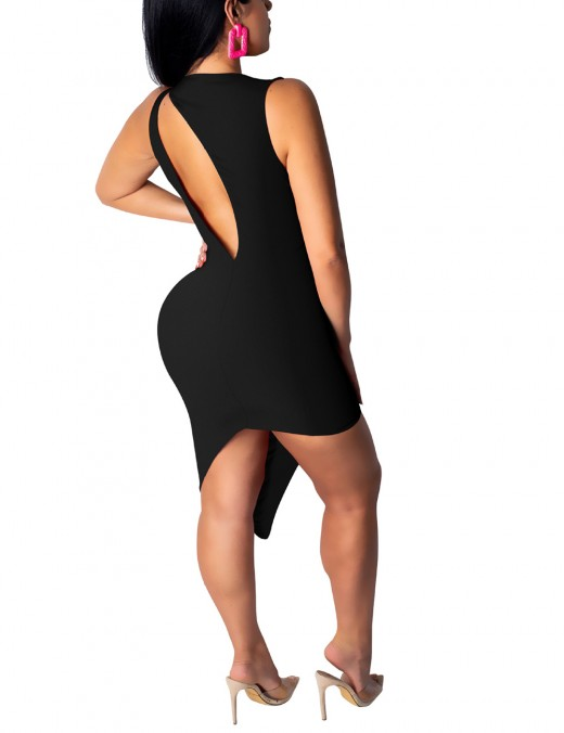 Casual Cut Out Crew Neck Sleeveless Bodycon Dress Nice Quality