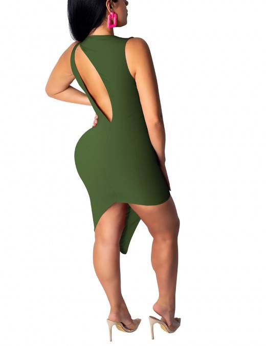 Bewitching Round Neck Green Backless Bodycon Dress Cut Out For Playing