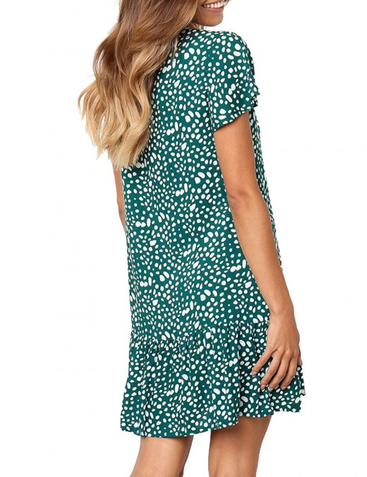 Green Ruffle Hem Short Sleeve Button Mini Dress Ideal Choice