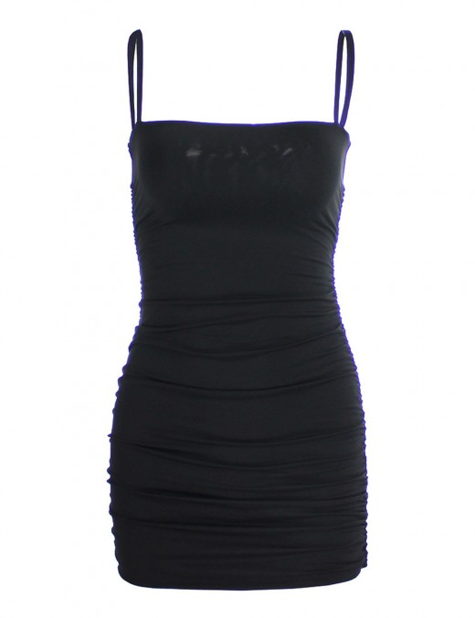 Explicitly Chosen Square Neck Black Shirred Bodycon Dress Backless