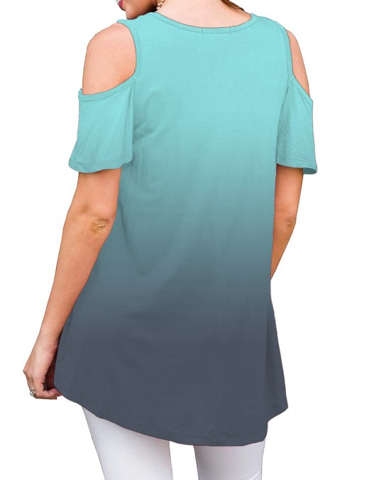 Sophisticated Gradient Cold Shoulder Round Neck Blouse Women