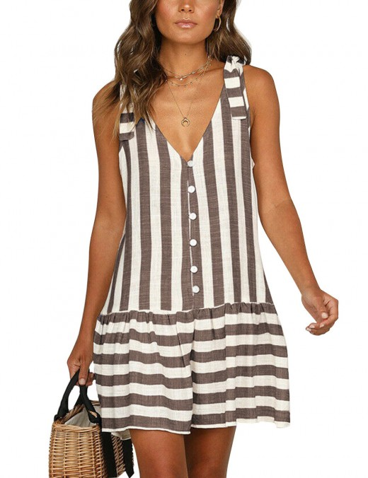 Brown Shoulder Tie Button Down Shirred Mini Dress Fashion Ideas