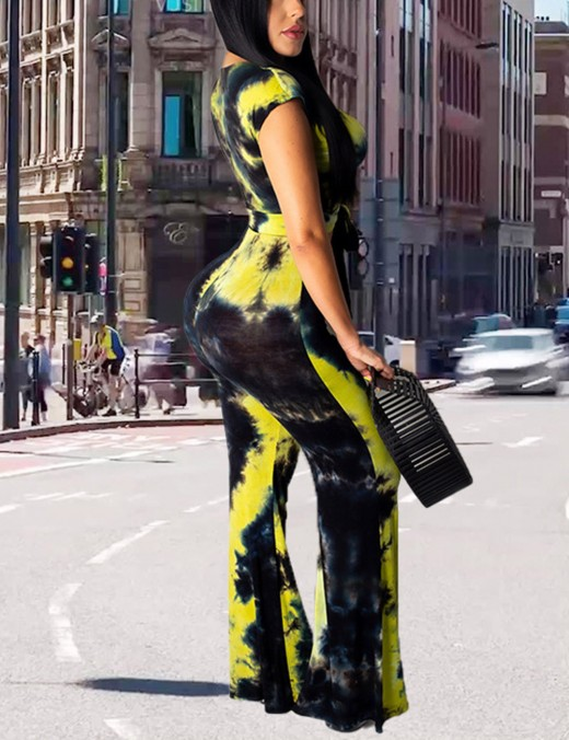 Tight Yellow Tie-Dye Knot Wide Leg Suit V Neck For Sexy Women