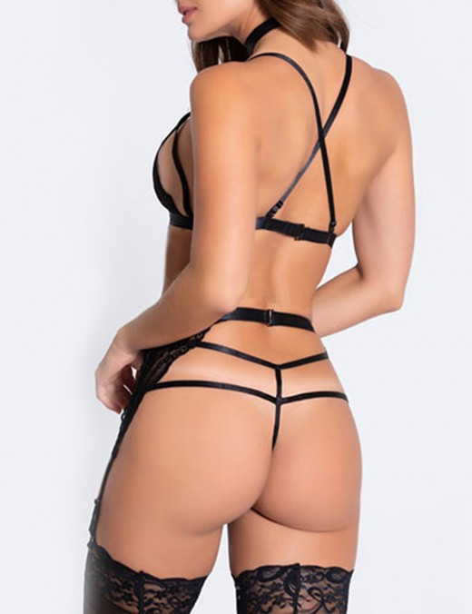 Enticement Black Strappy Brelette Set Garter Belt Lace Big Size