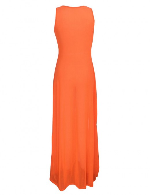 Refined Orange Slit Side Sleeveless Perspective Maxi Dress Women Outfits