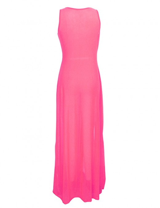 Dazzling Sleeveless Light Pink U Neck Transparent Maxi Dress Slit