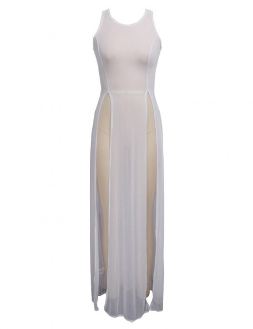 Form-Fitting Perspective Mesh White Slit Sleeveless Maxi Dress