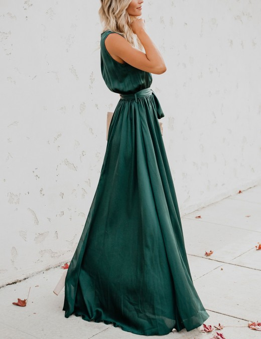 Green V Collar Wrap Split Waist Bohemia Knot Maxi Dress Distinctive Look