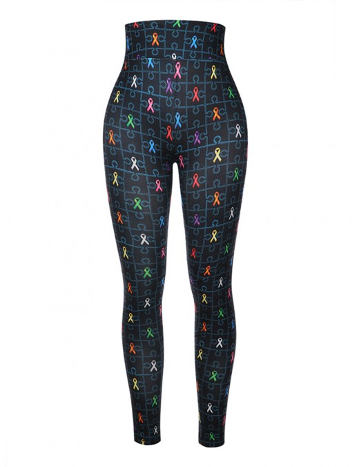 Stretch High Rise Brushed Print Mom Daughter Pants Breathable