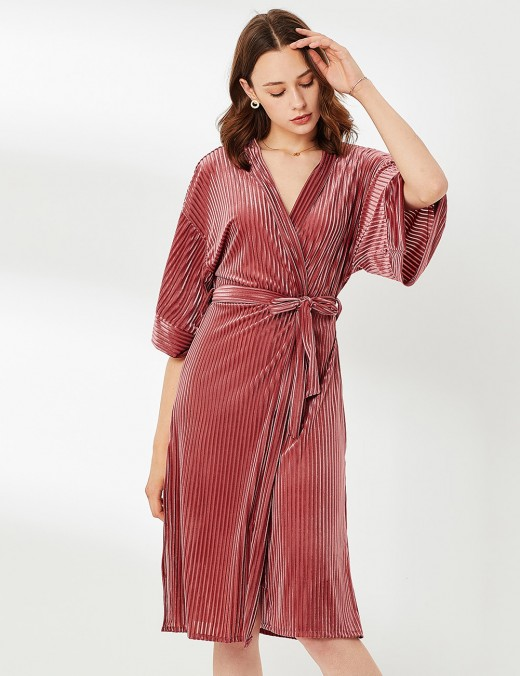 Delicate Velvet Ribbed Brown Half Sleeve V Neck Nightgown Slinky Figure