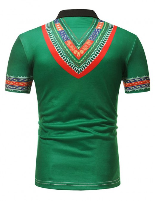 Brightly Green African Short Sleeve Polo Neck Male Shirt Quality