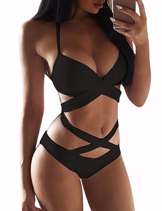 Feisty Bandage V Neck Black Sling Bikini Criss Cross Latest Styles