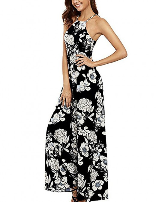 Gracious Halter Black Backless Zip Flower Maxi Dress Holiday