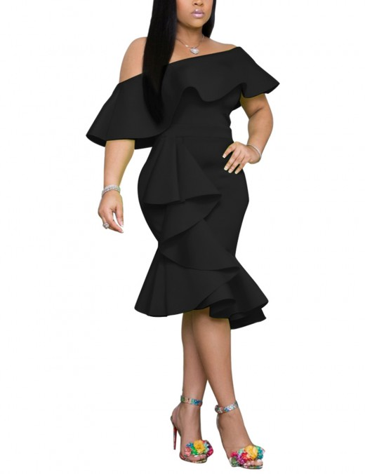 Brightly Flounce Hem Black Oblique Shoulder Bodycon Dress Eye Catcher