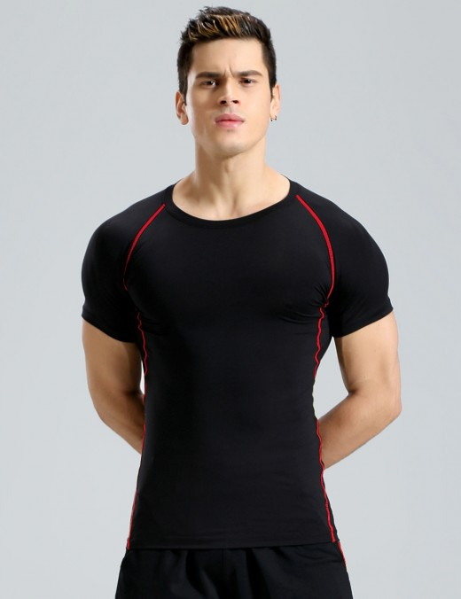 Dreamlike High Elastic Crew Collar Men Sport Top Big Size