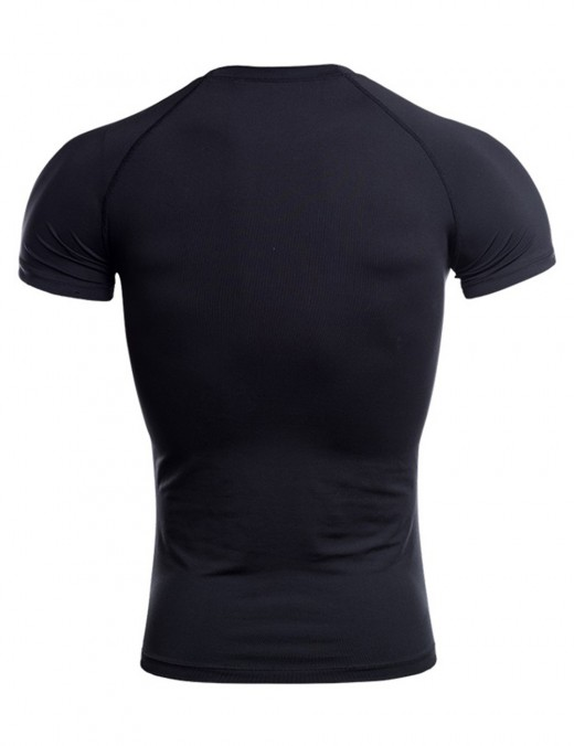Sleek Black Solid Color Round Collar Top Sport Male Big Size