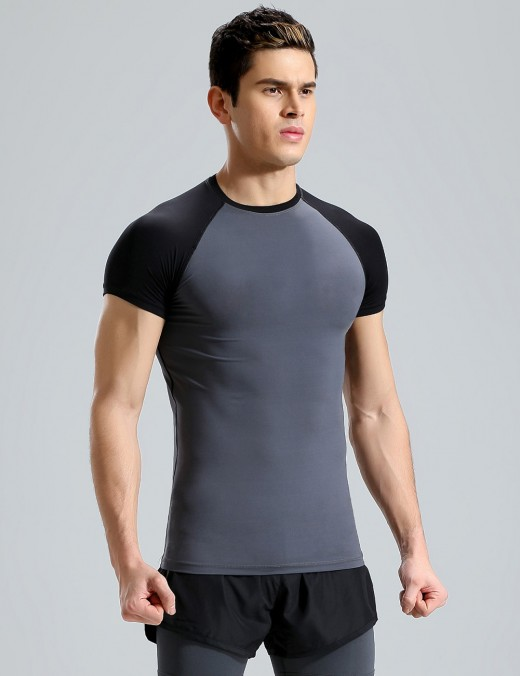 Must-Have Crew Neck Short Sleeve Male Sport Top Big Size