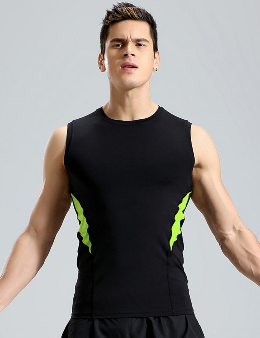 Stretchy Round Collar Male Sport Tank Top Big Size For Boy
