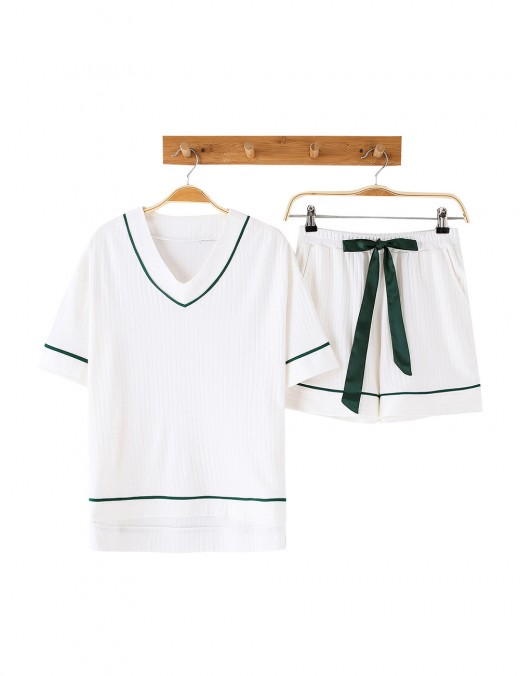 Hot White Ribbed V Collar Knot Sleepwear Set Pocket Slim Fingure