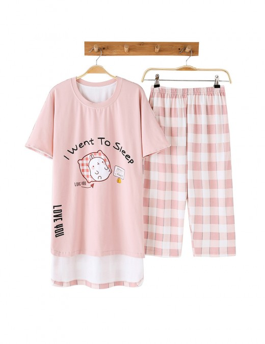 Quality Assured Pink Plaid Cartoon Print Short Sleeve Sleepwear Set