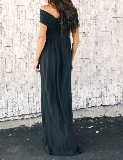 Glam Black Cross Smocking Off Shoulder Maxi Dress Pocket Comfort Women